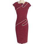 cheap Stylish Jewel Neck Cap Sleeve Polka Dot Buttoned Bodycon Dress For Women