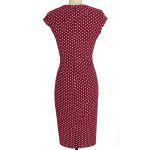 Stylish Jewel Neck Cap Sleeve Polka Dot Buttoned Bodycon Dress For Women deal