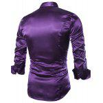 Stylish Shirt Collar Splicing Design Solid Color Slimming Long Sleeve Cotton Blend Shirt For Men - PURPLE
