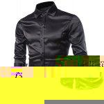 Stylish Shirt Collar Splicing Design Solid Color Slimming Long Sleeve Cotton Blend Shirt For Men - BLACK