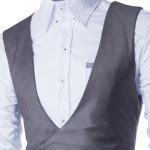 Stylish V-Neck Solid Color Oblique Placket Slimming Sleeveless Cotton Blend Waistcoat For Men - GRAY