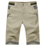 Stripe Splicing Crimping Design Men's Zipper Fly Straight Leg Cotton+Linen Shorts - Бежевый