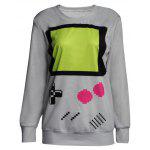 Cute Round Neck Long Sleeve Game Button Print Women's Sweatshirt - GRAY