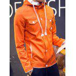 Buy Fashion Hooded Color Splicing Multi-Pocket Slimming Long Sleeve Cotton Blend Jacket Men M ORANGE