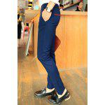 Buy Simple Narrow Feet Zipper Fly Color Block Pocket Embellished Slimming Men's Casual Pants 30 CADETBLUE