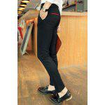 Buy Simple Narrow Feet Zipper Fly Color Block Pocket Embellished Slimming Men's Casual Pants 32 BLACK