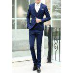 Buy Laconic Lapel Special Breast Pocket Single-Breasted Slim Fit Long Sleeves Men's Blazer Three-Piece Suits(Blazer+Vest+Pants) XL CADETBLUE