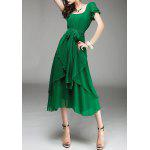 Asymmetrical Overlay Chiffon Dress - GREEN