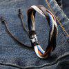 Retro Faux Leather Rope Twisted Bracelet For Men - BROWN