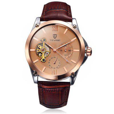Tevise 8502 Men Tourbillon Design Automatic Mechanical Watch with Leather BandMens Watches<br>Tevise 8502 Men Tourbillon Design Automatic Mechanical Watch with Leather Band<br><br>Band material: Leather<br>Brand: Tevise<br>Case material: Alloy<br>Clasp type: Pin buckle<br>Display type: Analog<br>Movement type: Automatic mechanical watch<br>Package Contents: 1 x Tevise Automatic Mechanical Watch<br>Package size (L x W x H): 20 x 5.2 x 2.5 cm / 7.86 x 2.04 x 0.98 inches<br>Package weight: 0.128 kg<br>Product size (L x W x H): 19 x 4.1 x 1.5 cm / 7.47 x 1.61 x 0.59 inches<br>Product weight: 0.078 kg<br>Shape of the dial: Round<br>Special features: Working small two stitches, Tourbillon<br>The dial diameter: 4.1 cm / 1.64 inches<br>The dial thickness: 1.5 cm / 0.59 inches<br>Watch style: Business<br>Watches categories: Male table