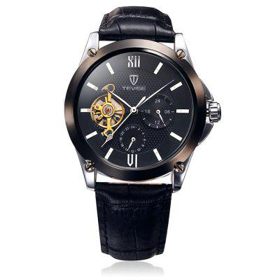 Tevise 8502 Men Tourbillon Design Automatic Mechanical Watch with Leather Band