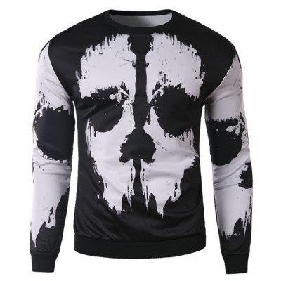 Buy WHITE AND BLACK Trendy Round Neck 3D Abstract Print Slimming Long Sleeve Cotton Blend Black and White Sweatshirt For Men for $16.29 in GearBest store