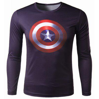 Trendy Round Neck 3D Captain America Print Slimming Long Sleeve Polyester Quick-Dry T-Shirt For Men
