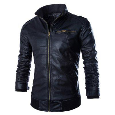 PU Leather Stand Collar Horizontal Zipper Epaulet Rib Spliced Long Sleeves Men's Slimming Jacket 141252903