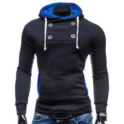 Modish Hooded Color Splicing Buttons Design Slimming Long Sleeve Polyester Hoodie For Men