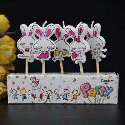 5Pcs Rabbit Cartoon Birthday Candle