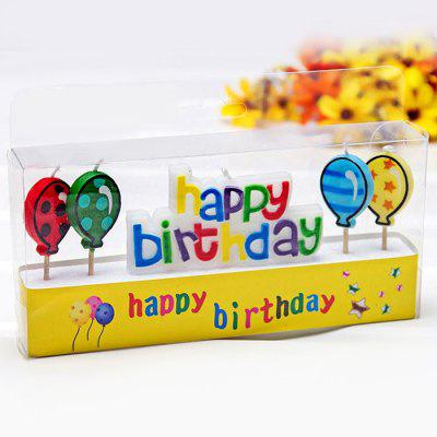 4Pcs Colorful Ballon Cartoon Birthday Candle