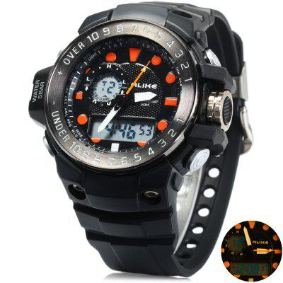 Alike AK15112 LED Dual Movt Male Sport Watch with Water Resistance Rubber Strap
