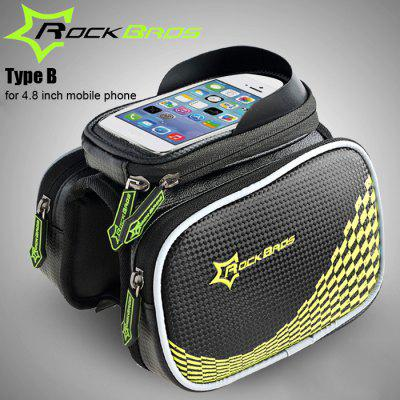 ROCKBROS Bicycle Front Top Tube Frame Bag 5.8 / 4.8 inch Mobile Phone Pocket + Dual Pouches