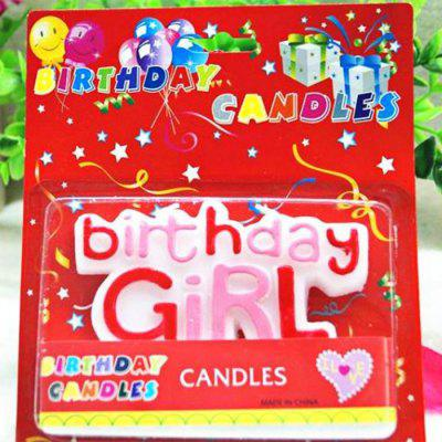 Alphabet and Girl Words Cartoon Birthday Candle Set