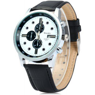 Weesky 1211 Men Quartz Watch with Leather Strap Date Display