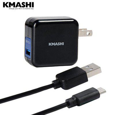 KMASHI Pando K6 Quick Charge 2.0 US Plug Power Adapter Wall Charger with Micro USB Charge Cable