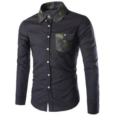 Buy BLACK Color Block Camo Splicing Long Sleeve Slimming Black Shirt For Men for $11.93 in GearBest store