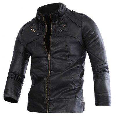 Buy BLACK 2XL Slimming Rib Spliced Button and Epaulet Design Stand Collar Long Sleeves Men's Locomotive PU Leather Jacket for $27.34 in GearBest store