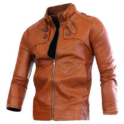 Slimming Rib Spliced Button and Epaulet Design Stand Collar Long Sleeves Men's Locomotive PU Leather Jacket