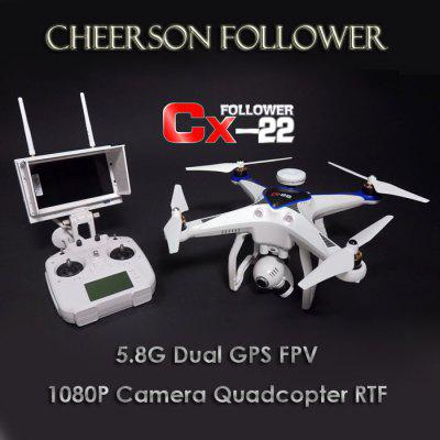 Cheerson CX22 CX - 22 Follower 5.8GHz FPV1080P Camera Dual GPS RC Quadcopter Brushless Gimbal 3D Flip UFO RTF