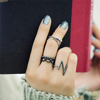 4PCS Faux Pearl Layered Hollow Out Rings