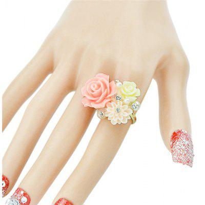 Rhinestone Decorated Resin Flower Shape Ring
