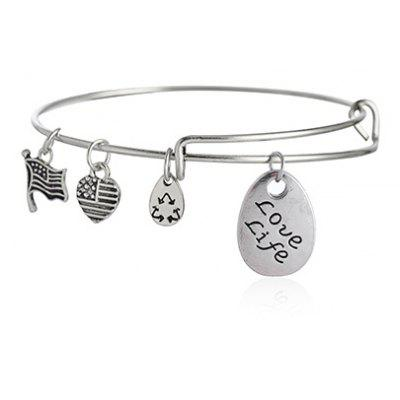 Letter Engraved Teardrop Heart Flag Bracelet