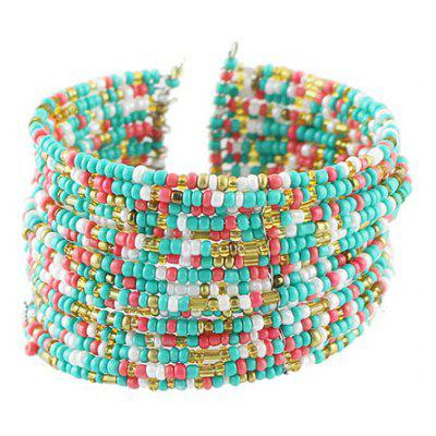 Chic Multi-Layered Beads Decorated Cuff Bracelet For Women