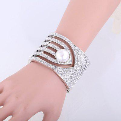 Delicate Luxury Rhinestone Faux Pearl Inlaid Bracelet For Women