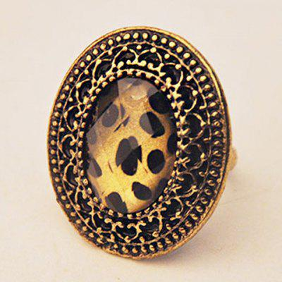 Vintage Leopard Pattern Ellipse Ring