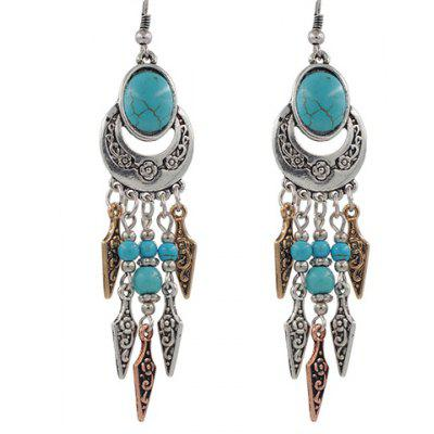 Pair of Vintage Turquoise Arrow Tassel Earrings For Women
