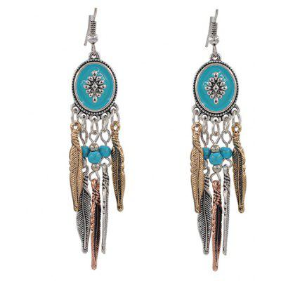 Faux Turquoise Beads Feather Tassel Earrings