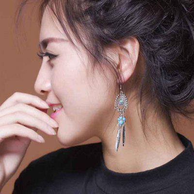 Pair of Delicate Turquoise Tassel Ethnic Style Earrings For Women