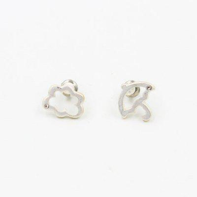 Pair of Hollow Out Asymmetric Cloud Umbrella Shape Earrings