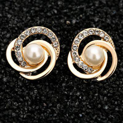 Pair of Stylish Faux Pearl Love Knot Earrings For Women