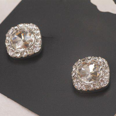 Pair of Delicate Rhinestone Square Women's Earrings