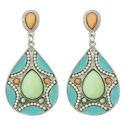 Pair of Retro Ethnic Faux Gemstone Decorated Water Drop Earrings For Women
