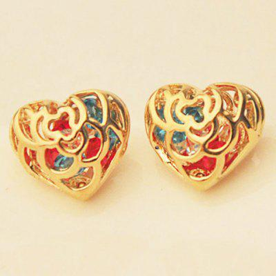 Pair of Cute Rhinestone Colored Heart Earrings For Women