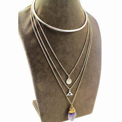 Chic Faux Crystal Layered Triangle Love Necklace