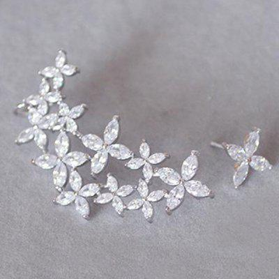 Pair of Delicate Rhinestone Flower Asymmetric Design Earrings For Women