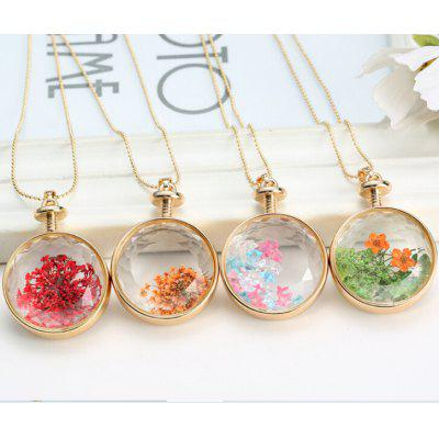 Fashionable Flower Decorated Round Pendant Necklace For Women (ONE PIECE)