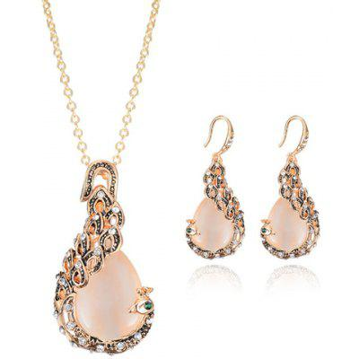 A Suit of Chic Rhinestone Decorated Peacock Shape Necklace and Earrings For Women
