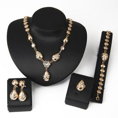 Elegant Water Drop Shape Jewelry Set(Necklace+Bracelet+Earrings+Ring)For Women