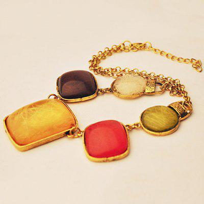 Retro Classic Faux Gem Colored Necklace For Women